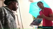 Guy gets to suck hard fat black dick by guydestroyed