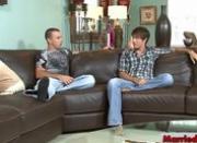 Two hunks make out on sofa