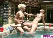 Sexy girls playing and giving massage at the pool