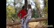 Two 18yo chicks naked in the forest