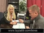 BIG TITTIED blonde gets nailed in her office