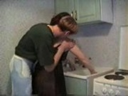 Amateur - Young guy fuckes mature in the kitchen