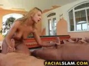 Girl slut having a messy bukakke cumshot.