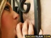 Babe gets her mouth fucked by huge cock