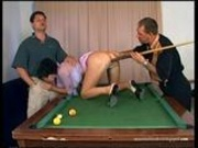 Karma Rosenberg threesome in the pool table