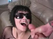 Punk Jasmine gets cum on her glasses