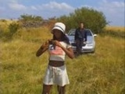 Beautiful french black girl in outdoor sex