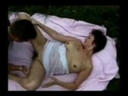 Hairy pussy mom gets her two holes nailed outdoor!