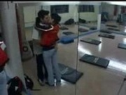 asian couple in gym