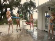 4 hot pornstars soaked in oil
