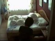 My mummy masturbating on bed
