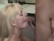 Russian housewife fucked from young boy in kitchen