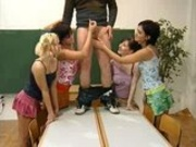 4 Girls Gets Schooled by an Older Man
