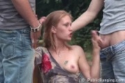 Public - public sex threesome in a two roads cross sect