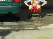 Piss: Crazy pee girl at the car wash