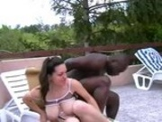 Hairy big titted brunette screamer gets black cock