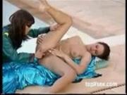 Girl girl fisting at pool