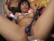 Japanese babe lathered up and fucked