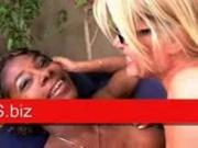Angelina - Interracial lesbian dildo sex pt2