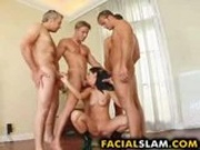 Amateur slut getting banged by four cocks