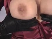 Satin - mature in tight blouse