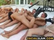 Two babes versus four cocks in deepthroat action.