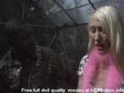 Blonde Slut sucking big black cock