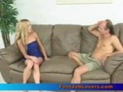 Blonde babe Ashley giving  footjob