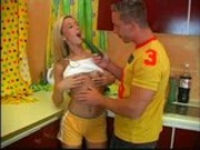 Blond teen gets it in the kitchen
