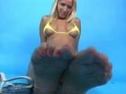BikiniHeat - Busty blonde girl in yellow mini bikini