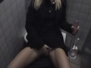 Amateur blonde hottie having fun at public places