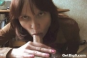 Brunette Giving Point of View Blowjob