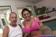 Lovely brunette gets her huge breasts fucked