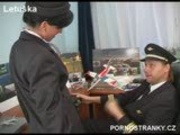 Air hostess in uniform fuck pilot