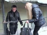 Outdoor blowjob from a pick up blondie