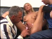 Sexy blonde entertains two studs 1/8
