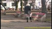 blonde girl peeing in public