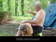Pervers grandpa fucks troubling teenie in the forest
