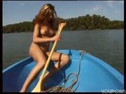 Naked girl goes ashore to pee