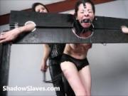 Merciless brazilian bdsm and lesbian whipping of 19yo amateur slave girl Demi in hardcore female domination and spanking by South American mistress Karina Cruel