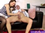 Classy euro pleasing old mans dick