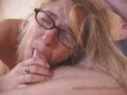 Alanna in glasses sucks cock and eats cum