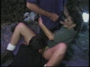 Camper pleasures herself then 2 guys have her pleasure
