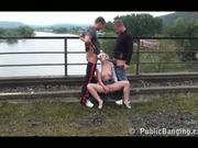 PUBLIC river bridge threesome
