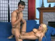 Blonde footsex and fucking in seamed stockings
