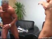 Sexy blonde entertains two studs 3/8