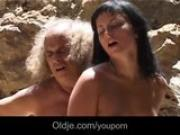 Dirty brunette Renata Black rimming and sucking perv old cock