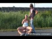 Pretty Girl Public Threesome By A Highway PART 1