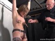 Sexy slave Taylor Hearts pussy clamped suffering and cunt whipping of blonde young submissive punished to tears and nipple tortured