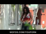 Sexy busty slut gf masturbates in public then fuck